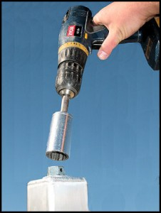Screw height adjustment with drill